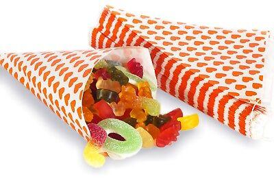 Orange Papiertüten (50 Papiertüten Spitztüten Herzen orange 19cm Dreieckstüten CandyBar Herztüten)