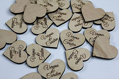 60 Stück Streudeko Herz Hochzeit Tischdeko Wunschnamen Dekoration Holz Party