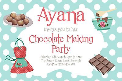 10 PERSONALISED CHOCOLATE SWEET MAKING PARTY INVITATIONS, BIRTHDAY  ()