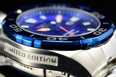 Invicta 53mm Limited Edition Pro Diver Blue Bezel Automatic Silver Tone Watch