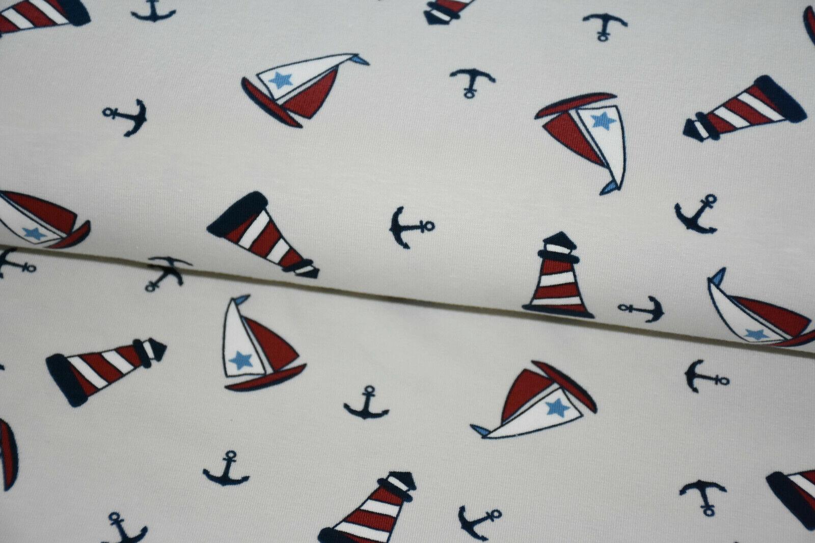 Stoff BaumwollJersey creme weiß dunkelblau rot Leuchtturm Boot Anker maritim