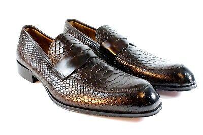IVAN TROY Coffee Crocodile Handmade  Italian Leather Dress Shoes/ Loafer Shoes/ -