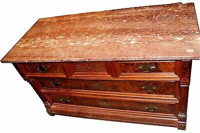 Antique American Victorian Eastlake Walnut & Rose Marble-Top Dresser
