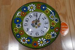 New Old Stock Working Vintage Spartus Round Kitchen flower Battery Wall Clock