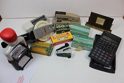 Lot Of Vintage Office Desk Supplies Stapler And Remover Label Maker Ink Stamp