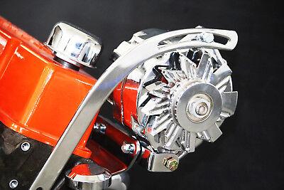 SBC Chevy Chrome Top Mount Alternator Bracket Short Water Pump SWP Driver