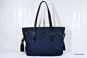 NWT Dooney & Bourke HP680 Monogram Signature Davis Tassel Shopper Tote