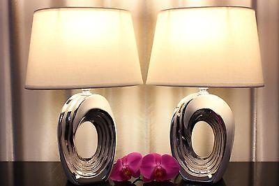 Silber Tischleuchte (2 Lampen weiß silber Nachttischlampe Leuchte Keramik Tischlampe Tischleuchte)