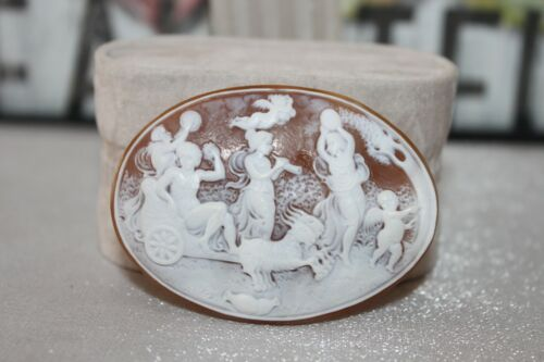"Victorian Vtg Large Carved Hard Stone / Shell Cameo High Relief 1 3/4"" x 2 1/4"""