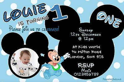 Mickey Mouse Baby Boy Birthday Party Invitations 10 Personalised Photo Invites - Photo Mickey Mouse Invitations