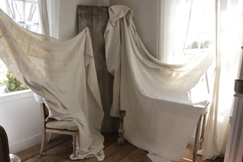 Sheets vintage French linen fabric 2 MATCHING for upholstery & sewing 18th cent