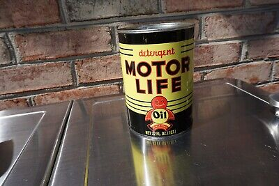 Beautiful 1 Quart Motor Life Oil Can, Lubricants Chicago Rare @@