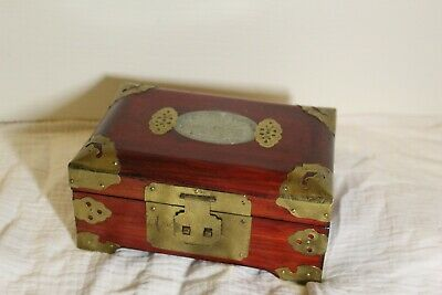 20th Century vintage Chinese Jewllary box decorated with copper and jade #H26