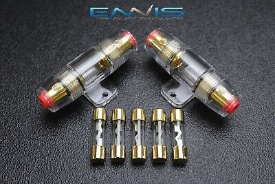 Agu In Line Fuse Holder - (2) AGU FUSE HOLDER W/ (5) 30 AMP 4 6 8 10 GAUGE IN LINE GLASS AWG WIRE GOLD