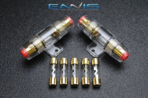 (2) AGU FUSE HOLDER W/ (5) 30 AMP 4 6 8 10 GAUGE IN LINE GLASS AWG WIRE GOLD