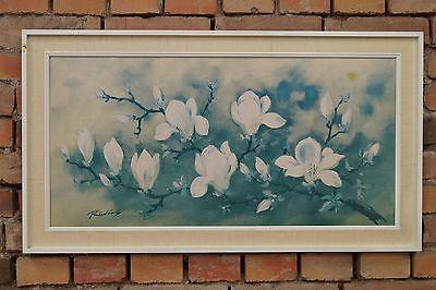 60er ÖLBILD ÖLDRUCK PAINTING BILD Magnolien Mid Century DEKO 50s Vintage Art