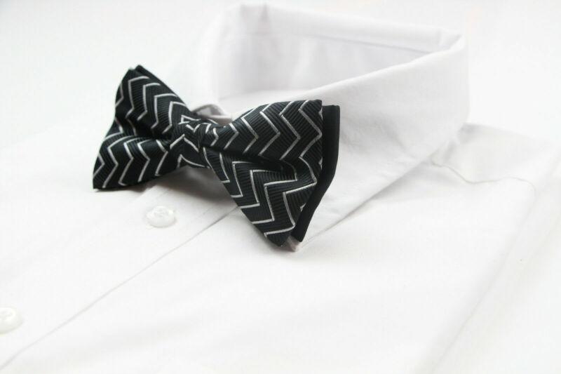 Mens Black With Silver Zigzag Bow Tie Pre-tied Men