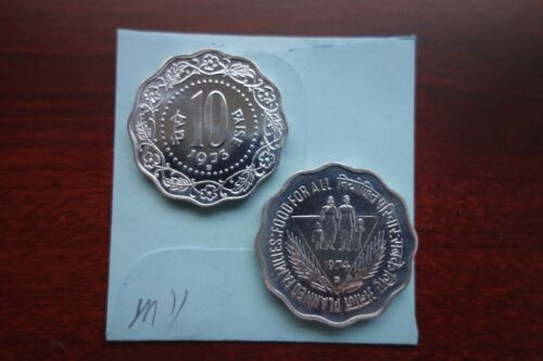 1973-B and 1974-B India 10 Paise 2 PROOF coins Low Mintage!