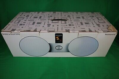 BANG & OLUFSEN WHITE/SILVER BEOSOUND 8 SPEAKERS WITH ORIGINAL BOX MINT CONDITION