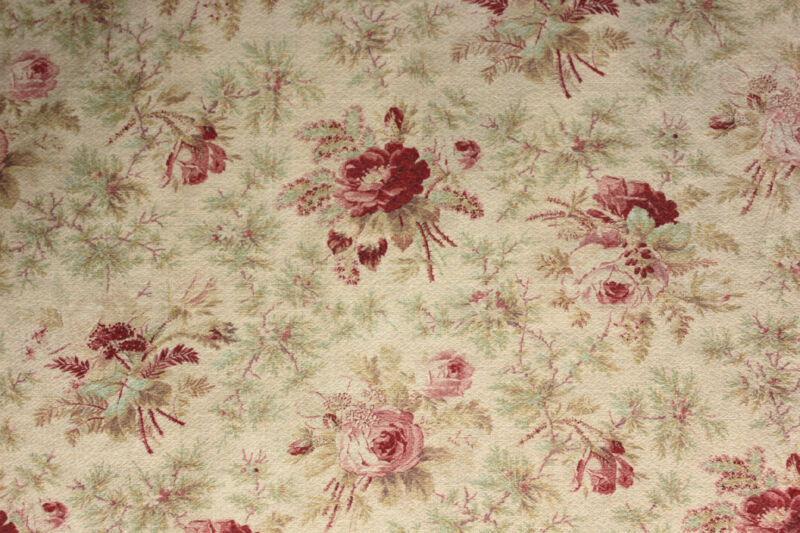 Curtain Antique French Fabric faded floral c1900 rose & minty green 2.77 yards
