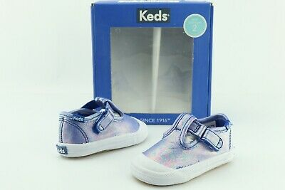 Keds Champion Baby Infant Girls Blue Leather Toe Cap T-Strap Shoes US 2 M D318 ()