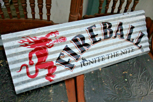 New Fireball Whisky Corrugated Aluminium Metal Sign - Ignite The Nite - Whiskey.
