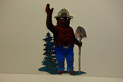 "SMOKEY THE BEAR STEEL ENAMEL STANDING BY TREE WITH SHOVEL  SIGN 20""X 14"""