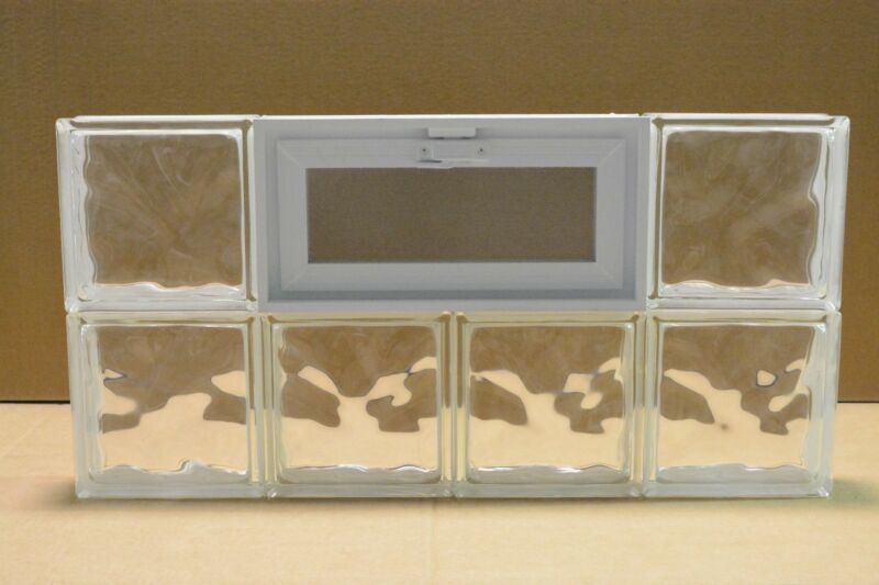 32 x 16 Vented Glass Block Window Wave Pattern