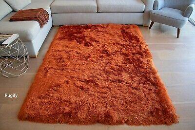 8'x10' Feet Solid Shag Rust Orange Color High Pile Decorativ