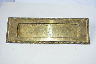 VINTAGE BRASS. RECLAIMED LETTERBOX  28x9cm 494g   a83