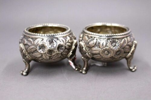Antique S. Kirk and Son 11oz Coin Silver Footed Salt Cellars Repousse 1860
