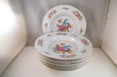 Vintage Noritake Japan Colton Set of 6 Rimmed Soup Bowls Flowers
