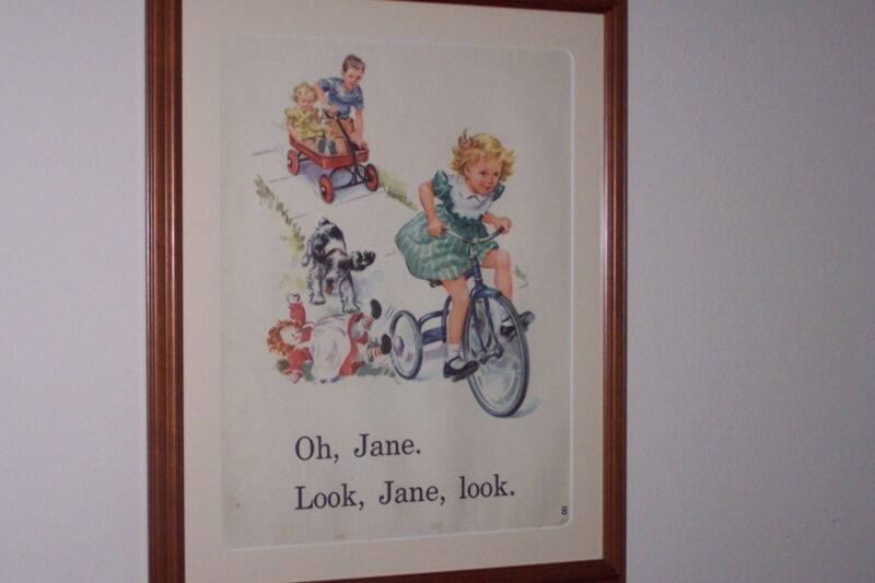 VINTAGE JANE, DICK, SALLY, AND SPOT. 2 SIDED TEACHERS FLIP BOOK IN WOOD FRAME.