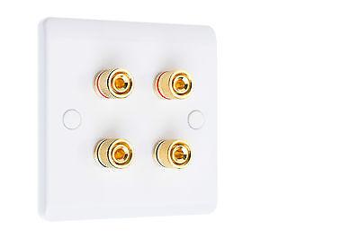 Speaker Wall Plate Dual / Bi Wire Gold 4 Binding Posts - Slim White  Gold Dual Wall Plate