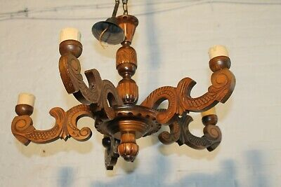 European carved antique wood  chandelier  LOW ceiling vintage  5 arms L5