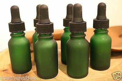 1/2 Oz GREEN FROSTED Glass Bottle with Glass Eye Dropper (15ml) -Pack of 12, New