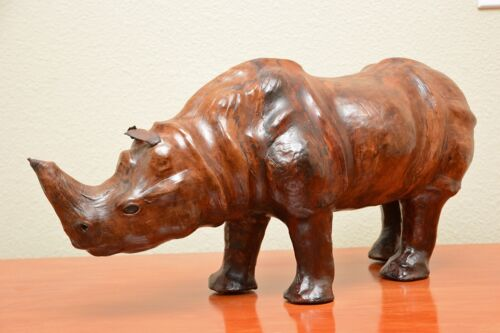 Vintage Leather Wrapped Rhinoceros Art Statue Sculpture Mid Century