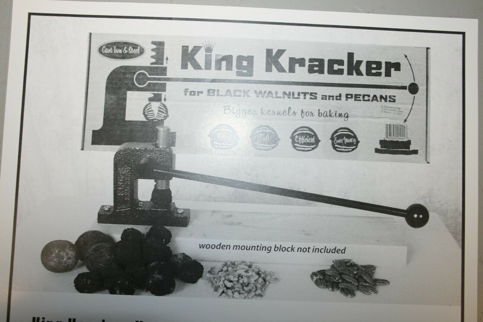 KING KRACKER PROFESSIONAL BLACK WALNUT AND PECAN NUT CRACKER