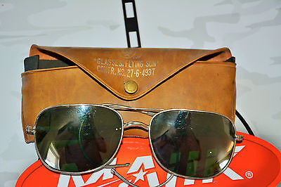 VINTAGE US MILITARY WWII? FLYING SUN GLASSES GREEN LENSES LEATHER CASE ORIGINAL