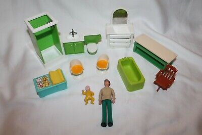 Vintage Fisher Price Loving Family 70's Dollhouse Furniture Dolls Lot Baby Dad