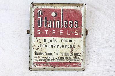 Vintage Advertising Paper - VINTAGE STAINLESS STEELS ADVERTISING PAPER CLIP HOLDER INDUSTRIAL STEELS MASS