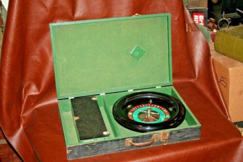 "Vintage 14"" Bakelite Casino Roulette Wheel w/ Chips in Large Black Wooden Case"