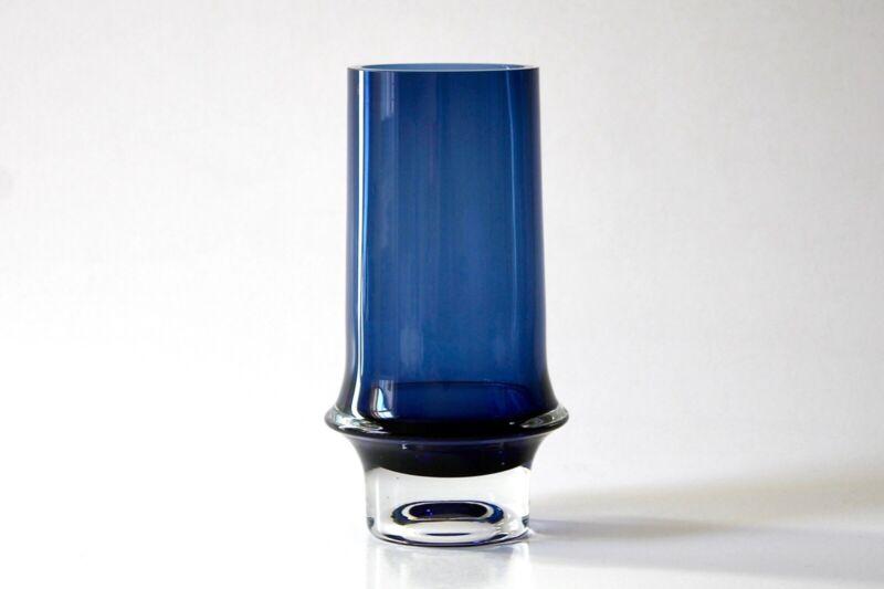 Original Mid-century Vintage Blue Glass Vase by Tapio Wirkkala for Iittala