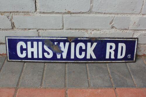 Antique Enamel Blue White Chiswick Rd Road Sign Street Name Porcelain London