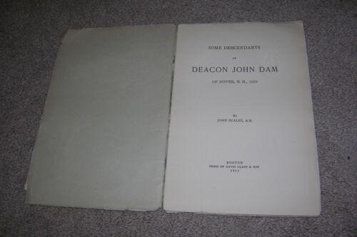 Descendants John Dam, Dover NH 1633, Deacon First Church, Genealogy