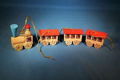 ERZGEBIRGE Germany Christmas Tree Ornament Wooden Train Set of 4 Box