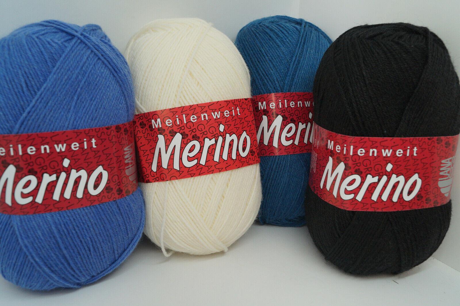 Lana Grossa Meilenweit Merino 4fach Sockenwolle 100g/420m versch.Farben