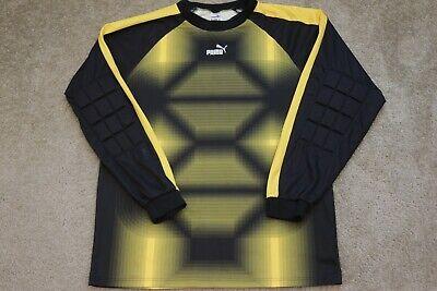 Puma Yellow Black Long Padded Sleeve Goalkeeper Goalie Jersey Shirt Sz XL Mens Black Goalie Jersey