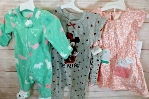 Baby Girl  Nb & 3 Months Clothes Lots 3 Set Outfit Nwt Disney & Carters