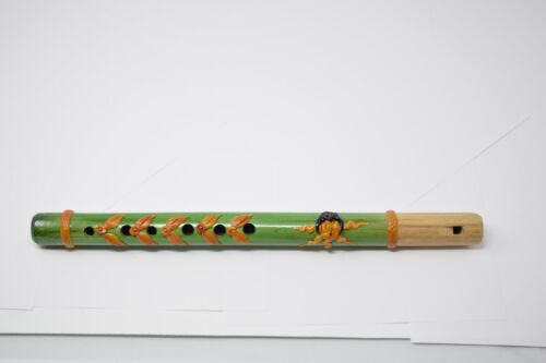 Hand Painted Wooden Carved Flute Traditional Recorder Music Ecuador